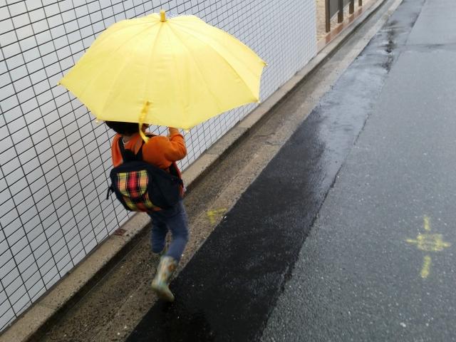 子供と折りたたみ傘の画像