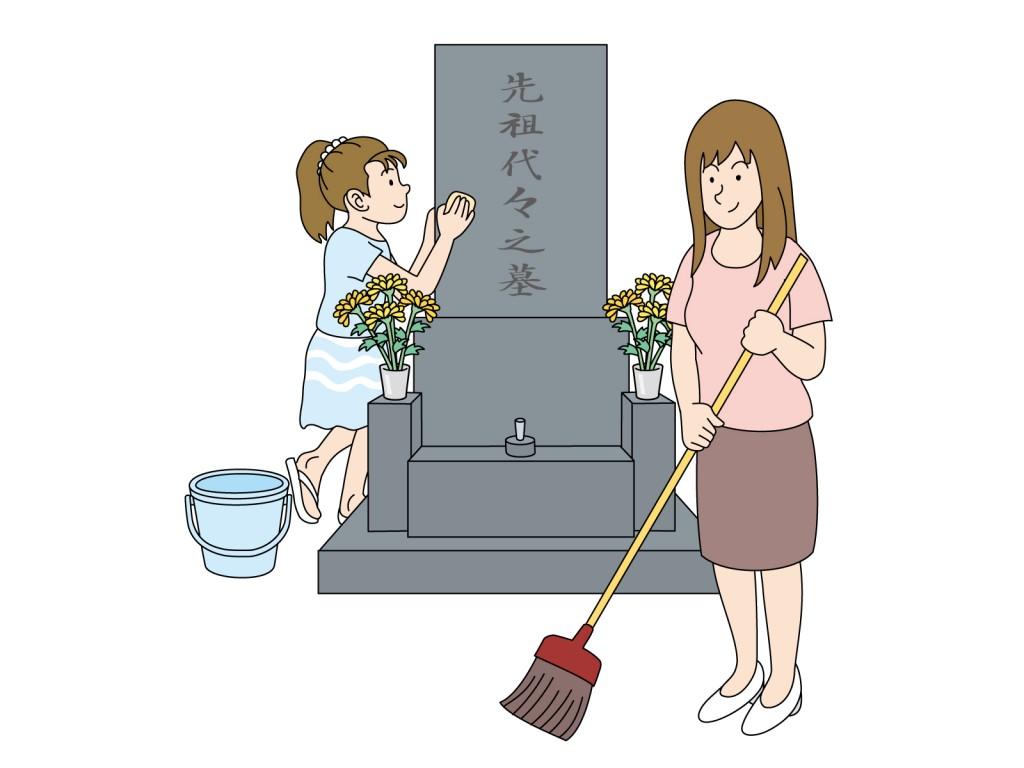 お墓の掃除の画像